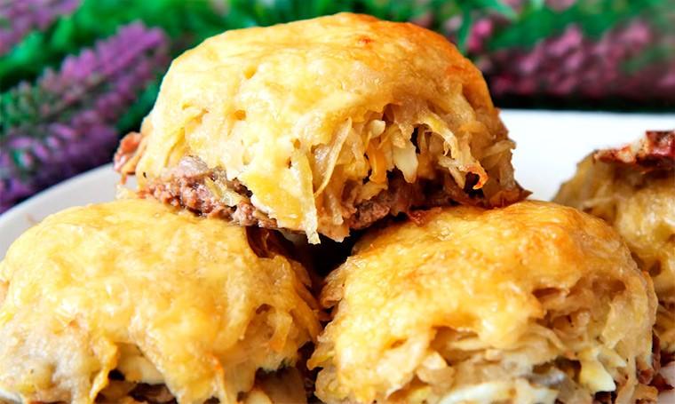 Мясные стожки с грибами, картофелем и сыром