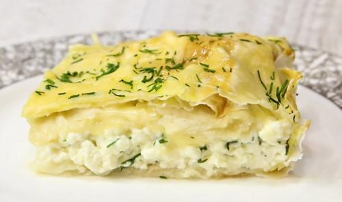 Пирог из творога, лаваша и сыра