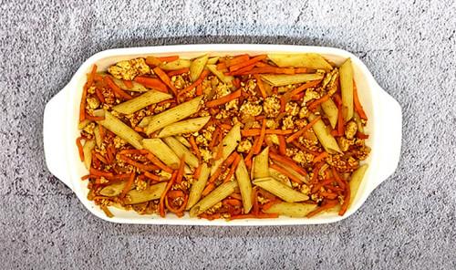 Запеканка с куриным фаршем и макаронами