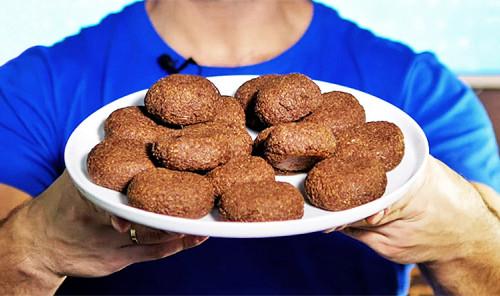 Шоколадное овсяное печенье с творогом и бананом