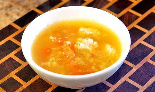 Быстрый суп с куриным фаршем и чечевицей