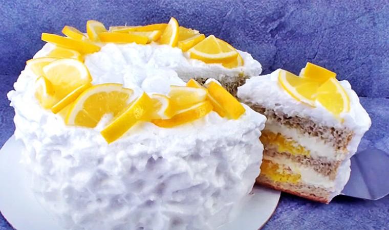 Бисквитный лимонный торт