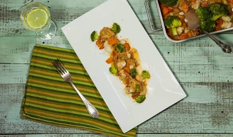 Треска с овощами на ужин