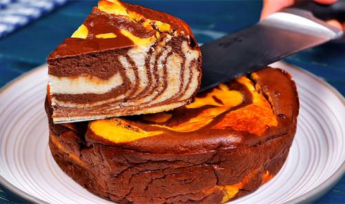 Творожная запеканка с какао «Зебра»